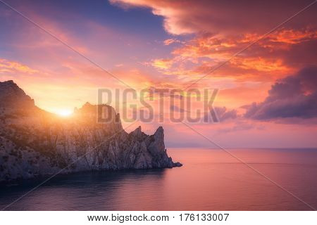 Colorful Red Sky. Mountain Landscape At Sunset