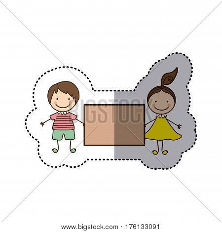 sticker colorful caricature couple boy and girl with hair tail and banner vector illustration