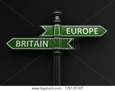 3D Illustration. Europe and Britain pointers on signpost. Image with clipping path