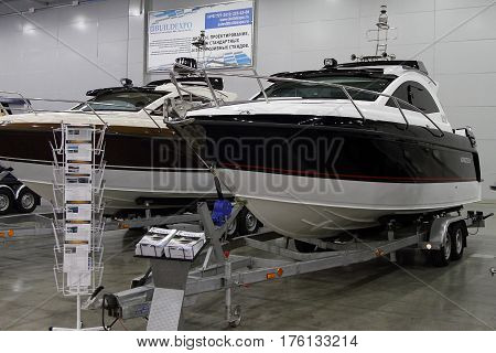 MOSCOW - MARCH 09 2017: Boat Grizzly 840 Racing for 10 International boat show in Moscow. Russia.