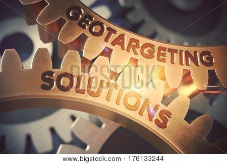 Geotargeting Solutions Golden Metallic Cog Gears. Geotargeting Solutions - Industrial Design. 3D Rendering.