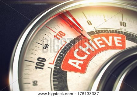 Achieve - Red Label on the Conceptual Compass with Needle. Business Mode Concept. Metallic Gauge with Red Punchline Reach the Achieve. Illustration with Depth of Field Effect. 3D.
