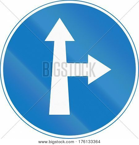 Road Sign Used In Cyprus - Straight Or Right Ahead