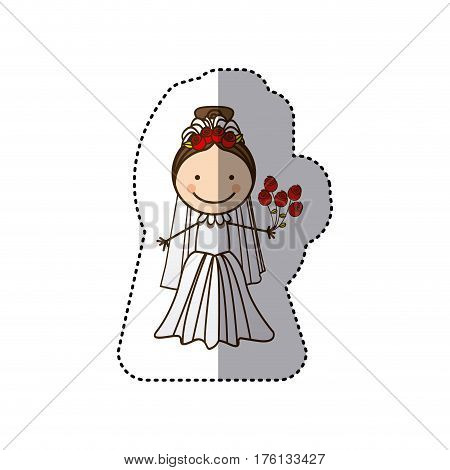 sticker colorful caricature woman with costume bride icon vector illustration