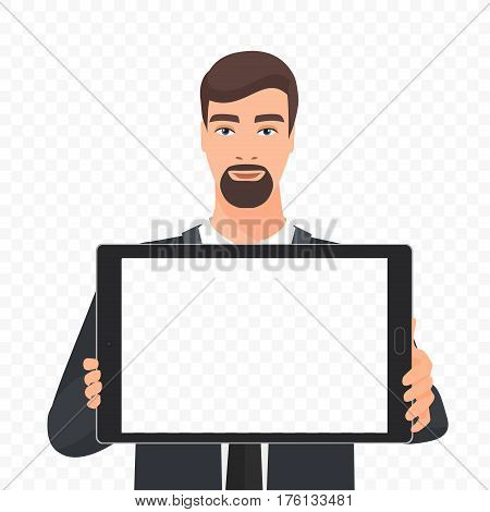 Bearded businessman showing the empty tablet pc screen vector illustration. Tablet alpha transperant background