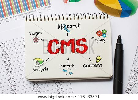 Notebook With Toolls And Notes About Cms,concept