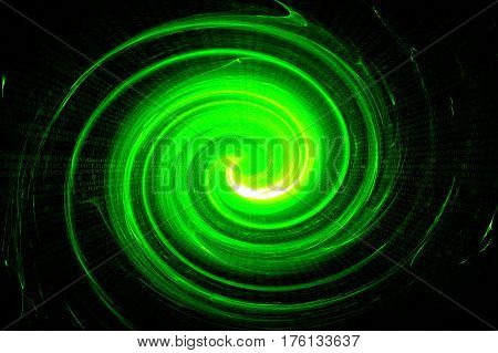 Green Circular Glow Wave. Scifi Or Game Background.