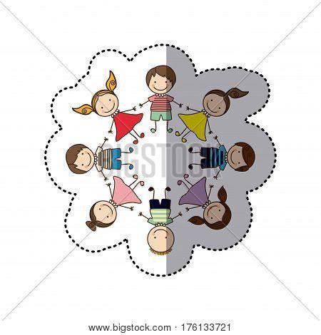 sticker colorful caricature children holding hands vector illustration