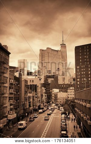 NEW YORK CITY - AUG 15: Chinatown street view August 15, 2014 in Manhattan, New York City. It is one of the largest and oldest ethnic Chinese communities outside of Asia with population of 90k