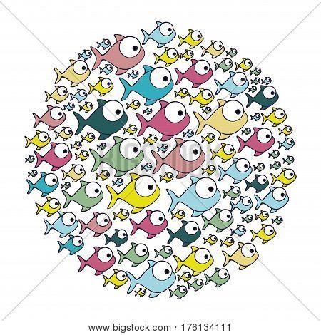 colorful circular pattern fish aquatic animal vector illustration