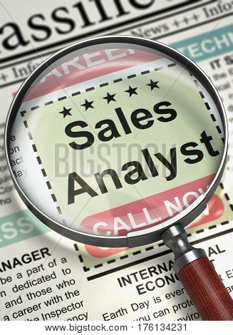 Sales Analyst - Small Advertising in Newspaper. Column in the Newspaper with the Small Advertising of Sales Analyst. Hiring Concept. Selective focus. 3D Illustration.