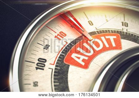 3D of a Conceptual Meter with Red Needle Pointing the Message Audit. Business or Marketing Concept. Audit - Conceptual Gauge with Red Inscription on It. Horizontal image. 3D.
