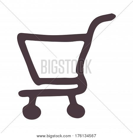 hand drawing supermarket shopping cart icon vector illustration