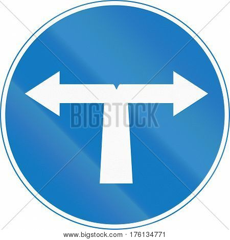 Road Sign Used In Cyprus - Turn Left Or Right Ahead