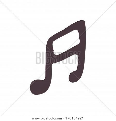 hand drawing silhouette musical note icon vector illustration