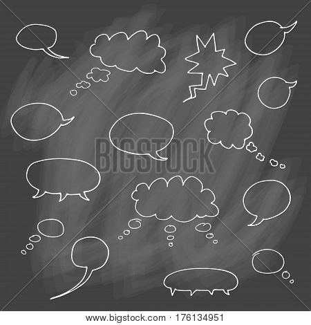 Vector set of cartoon hand drawn speech and thought communication bubbles. Isolated. outline. doodle.  On chalk background