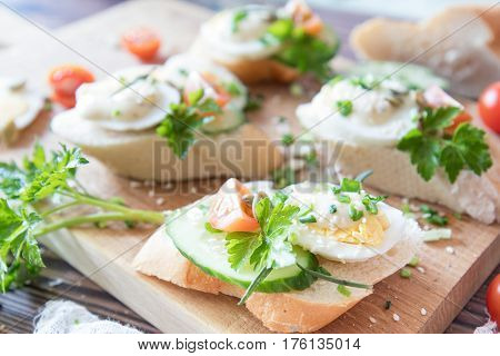 Bread With Slices Of Fresh Cucumber, Egg, Cheese