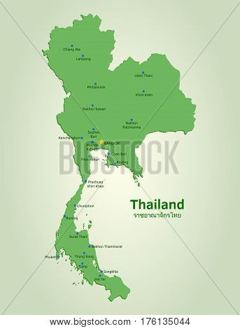 Flat vector Thailand map with some of its largest and most populated cities