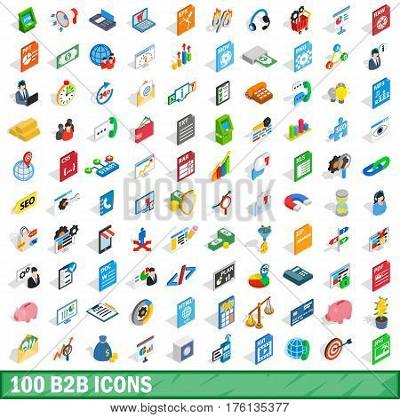 100 b2b icons set in isometric 3d style for any design vector illustration