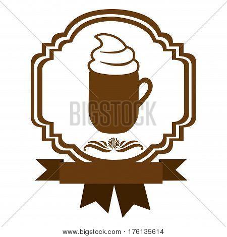 brown border heraldic decorative ribbon with mug of cappuccino with cream vector illustration