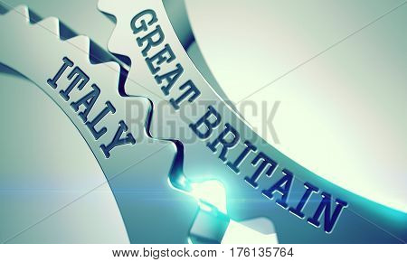 Metal Cog Gears with Great Britain Italy Inscription. Great Britain Italy on Mechanism of Metallic Gears with Lens Flare - Enterprises Concept. 3D Render.
