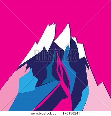 Graphic bright colored vector mountain on a pink background