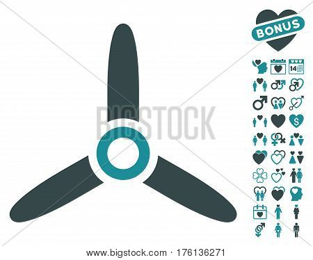 Three Bladed Screw pictograph with bonus love graphic icons. Vector illustration style is flat iconic soft blue symbols on white background.