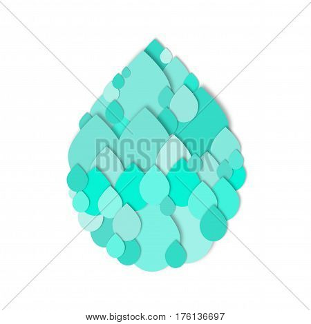 Cutout water drops in shape of large water drop. Paper collage. Vector icon.  3d geometric design for banner, cover, brochure, flyer, template.