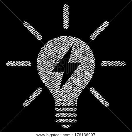 Electric Light Bulb vector textured icon for overlay watermark stamps. Fabric white vectorized texture. Symbol with dust design. Rubber seal stamp with fiber textile structure.