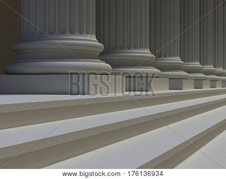 Row of Ionic columns and stair steps, architectural details of the facade of building in the Greek or Roman style, perspective view. 3D illustration.
