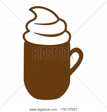 brown mug of cappuccino with cream vector illustration