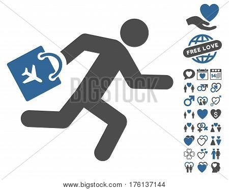 Late Airport Passenger pictograph with bonus lovely clip art. Vector illustration style is flat iconic cobalt and gray symbols on white background.