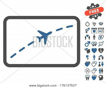 Plane Route icon with bonus valentine icon set. Vector illustration style is flat iconic cobalt and gray symbols on white background.