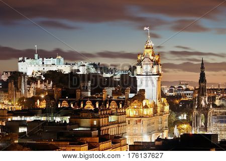 Edinburgh city view at night in UK.