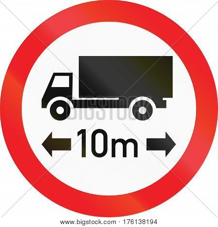 Road Sign Used In Cyprus - No Vehicles Or Combination Of Vehicles Exceeding 10 Meters