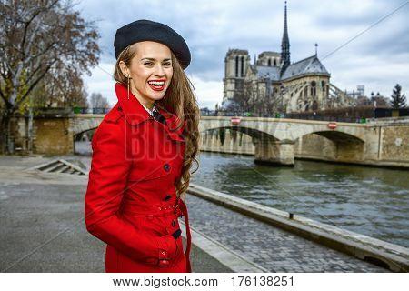 Tourist Woman In Paris, France Having Walking Tour