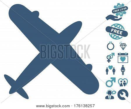 Aeroplane icon with bonus valentine symbols. Vector illustration style is flat iconic cyan and blue symbols on white background.