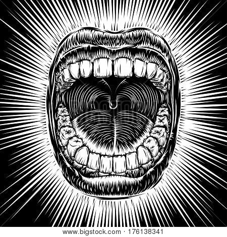 Open mouth with teeth; Screaming shouting singing yawning mouth; Jaw drop; T-shirt print design from vintage tribal tattoo in ink hand drawing style; Vector monochrome black and white background Eps8
