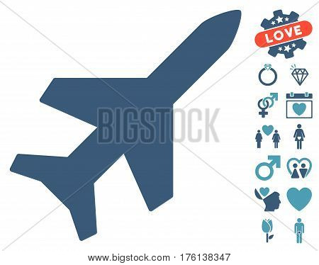 Aeroplane pictograph with bonus love graphic icons. Vector illustration style is flat iconic cyan and blue symbols on white background.