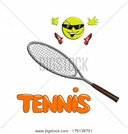 Smiling tennis ball in sneakers jumping on tennis racket