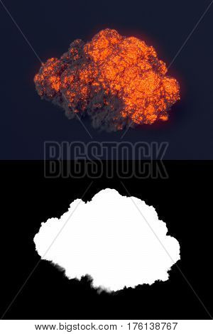 Explosion with black smoke in dark with alpha channel. 3d rendering