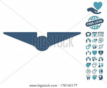 Aviation pictograph with bonus dating pictograph collection. Vector illustration style is flat iconic cyan and blue symbols on white background.