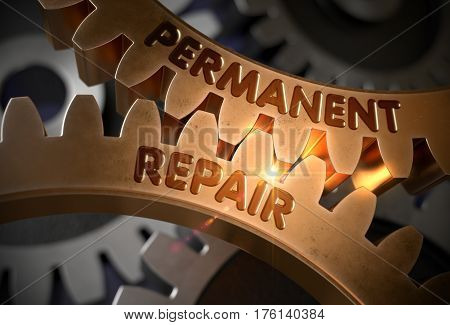 Permanent Repair on Mechanism of Golden Metallic Gears with Glow Effect. Permanent Repair - Illustration with Lens Flare. 3D Rendering.