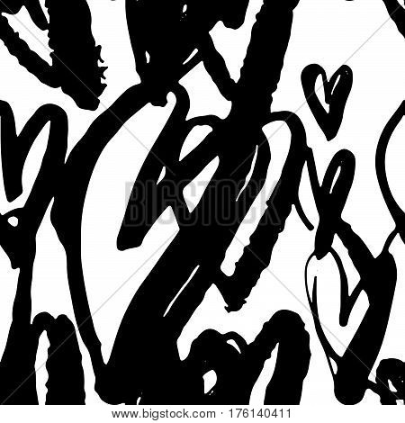 Seamless Brushpen Doodle Pattern Grunge Texture.trendy Modern Ink Artistic Design