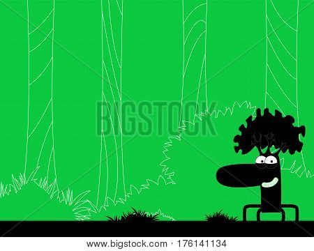 Vector illustration on forest theme. Nature concept. Vector illustration