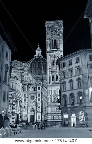 Duomo Santa Maria Del Fiore in Florence Italy street view at night.