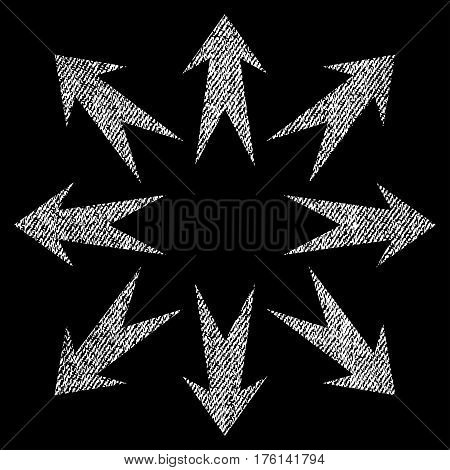 Expand Arrows vector textured icon for overlay watermark stamps. Fabric white vectorized texture. Symbol with unclean design. Rubber seal stamp with fiber textile structure.