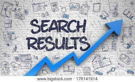 Search Results - Success Concept. Inscription on Brick Wall with Doodle Design Icons Around. Search Results - Line Style Illustration with Doodle Elements.