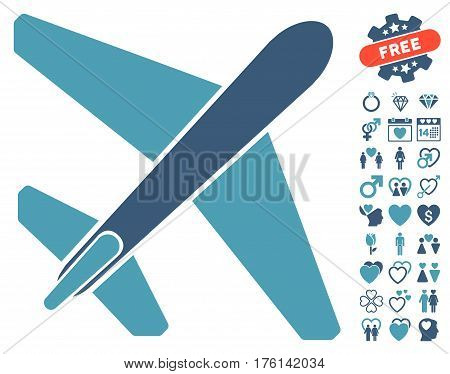 Jet Airplane pictograph with bonus love clip art. Vector illustration style is flat iconic cyan and blue symbols on white background.