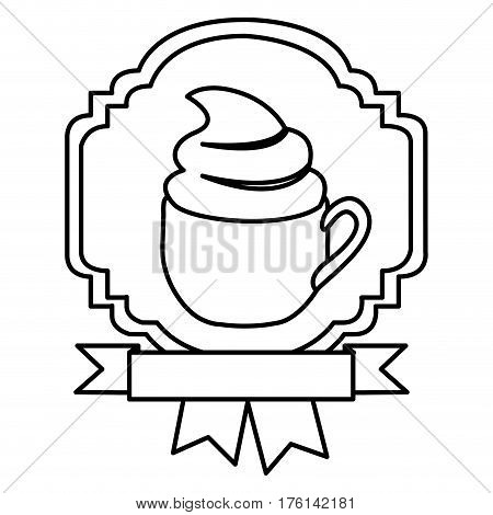 silhouette border heraldic decorative ribbon with cup of cappuccino with cream vector illustration